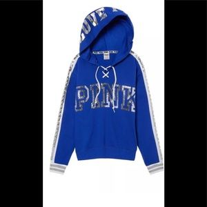 Victoria Secret Blue Bling Lace up Hoodie